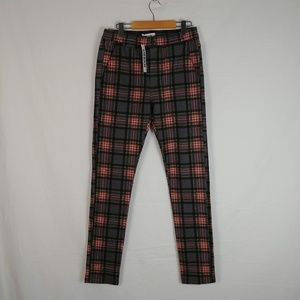 UO High Rise Plaid Tapered Mom Pants
